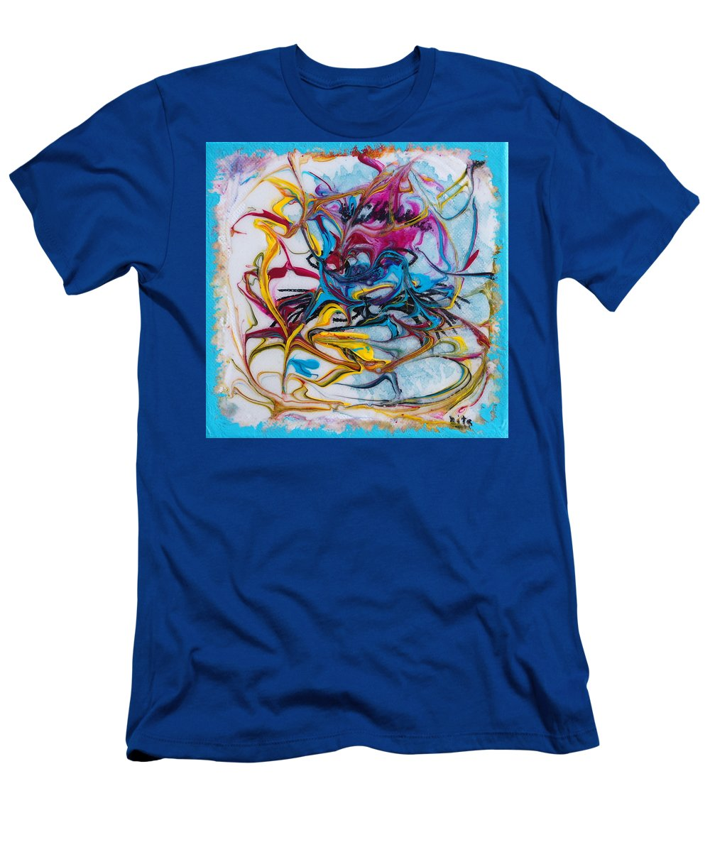 Abstract Men's T-Shirt (Athletic Fit) featuring the mixed media Meditative Position by Rita Lulay Malsch