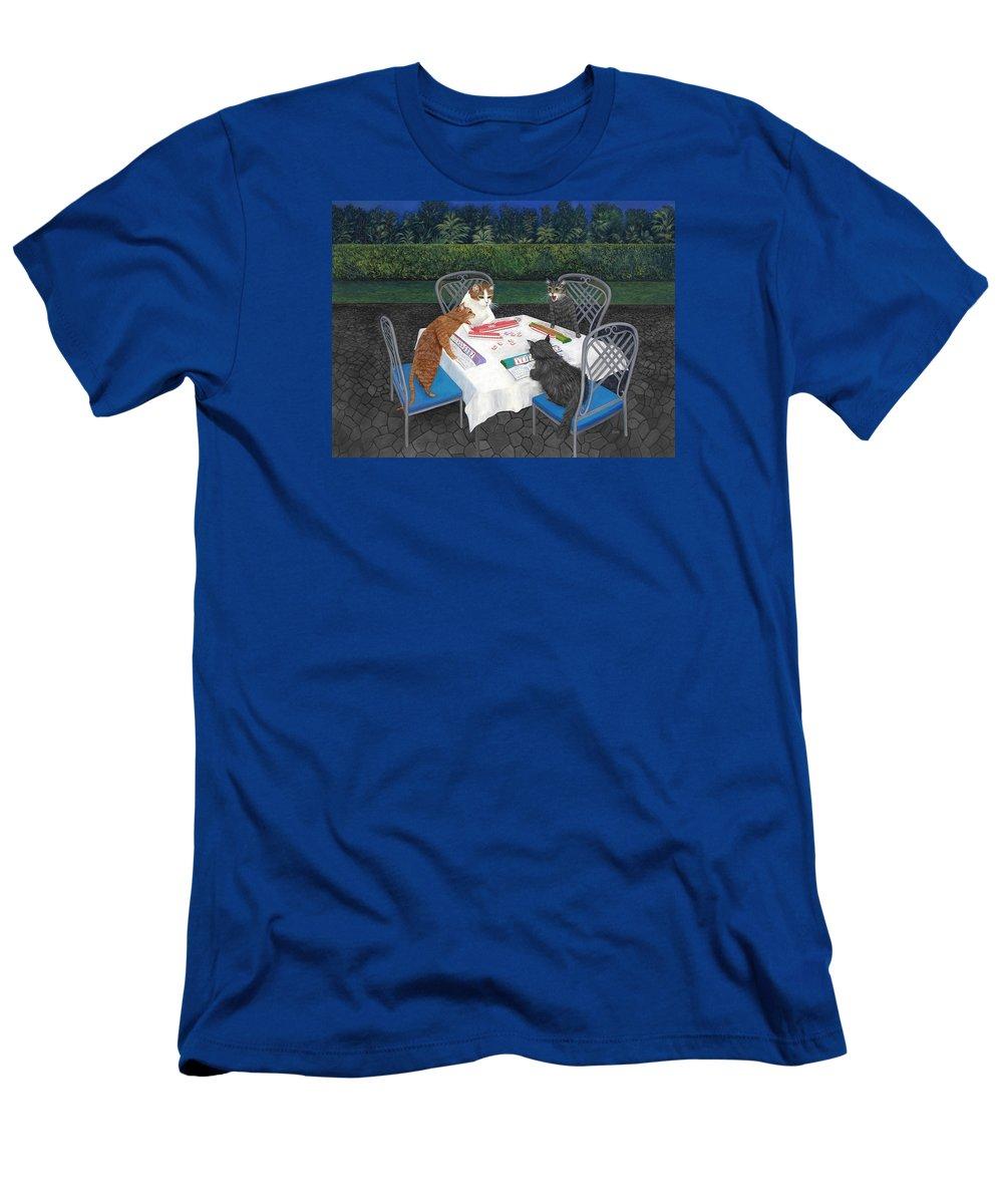 Cat Art T-Shirt featuring the painting Meowjongg - Cats playing Mahjongg by Karen Zuk Rosenblatt