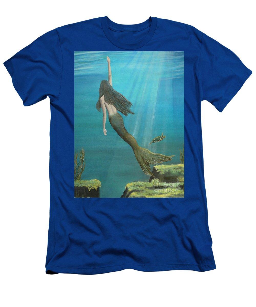 Mermaid Men's T-Shirt (Athletic Fit) featuring the painting Mermaid Of Weeki Wachee by Kris Crollard