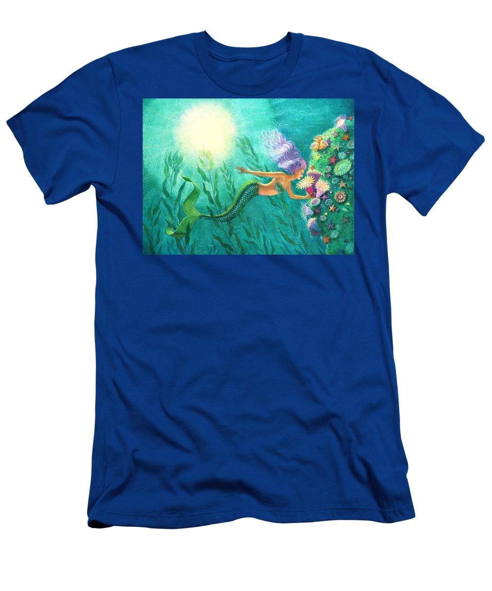 Mermaid Art Men's T-Shirt (Athletic Fit) featuring the painting Mermaid's Garden by Sue Halstenberg