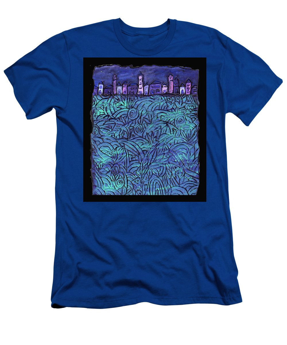 Night Men's T-Shirt (Athletic Fit) featuring the painting Midnight by Wayne Potrafka