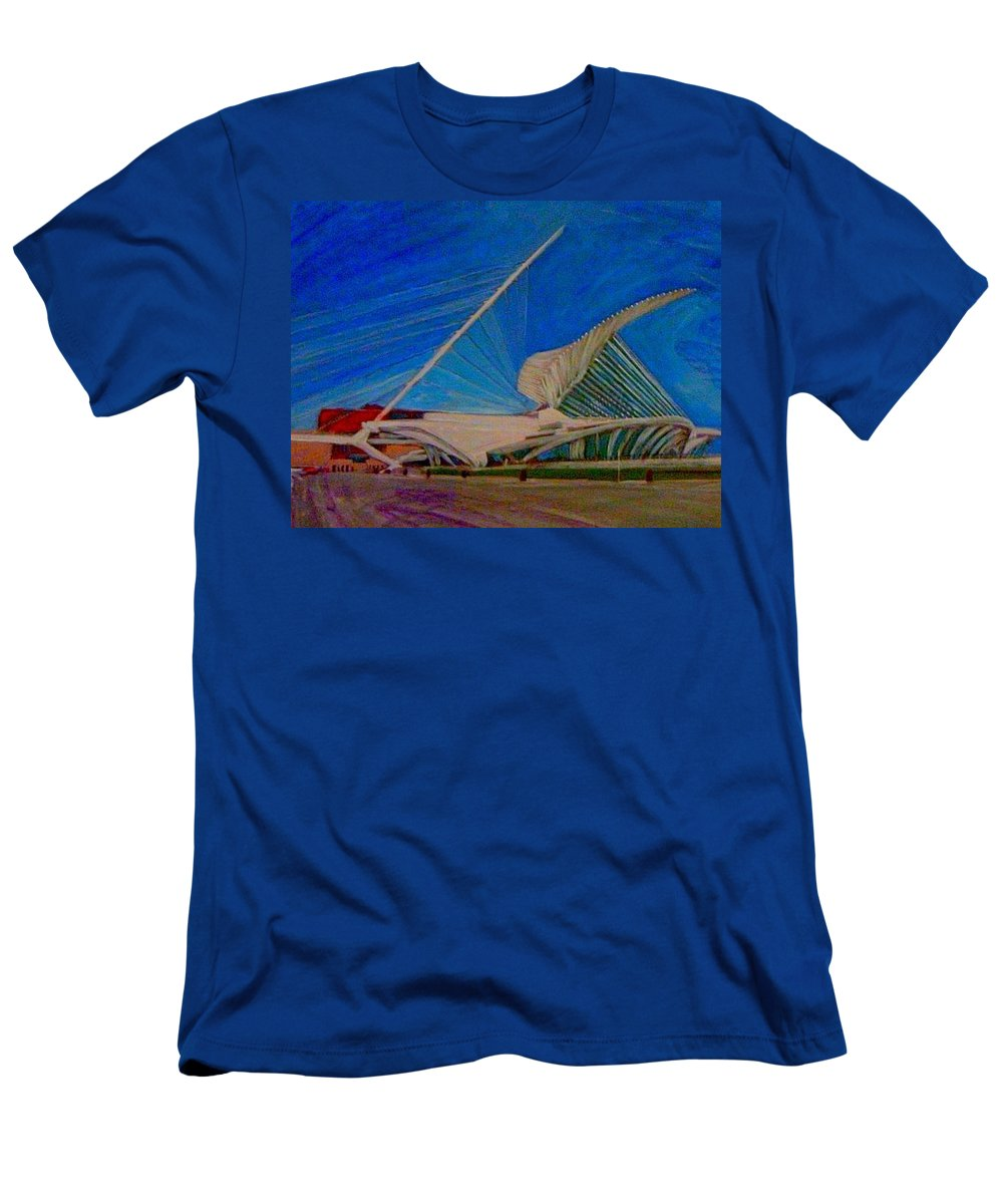 Mam Men's T-Shirt (Athletic Fit) featuring the mixed media Milwaukee Art Museum by Anita Burgermeister