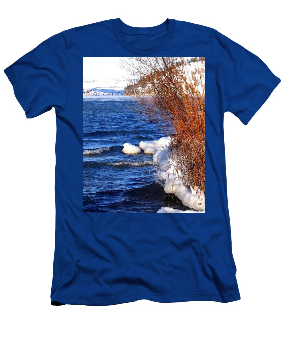Kalamalka Men's T-Shirt (Athletic Fit) featuring the photograph Mist On Kalamalka by Will Borden