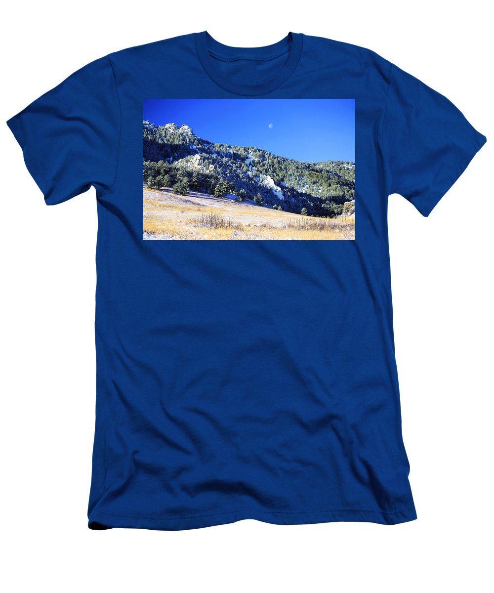 Colorado Men's T-Shirt (Athletic Fit) featuring the photograph Moon Over Chautauqua by Marilyn Hunt