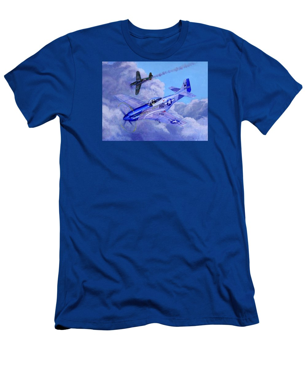 Capt Bill Wisner Shoots Down Two Bf-109s On November 2nd 1944 T-Shirt featuring the painting Moonbeam McSwine by Scott Robertson