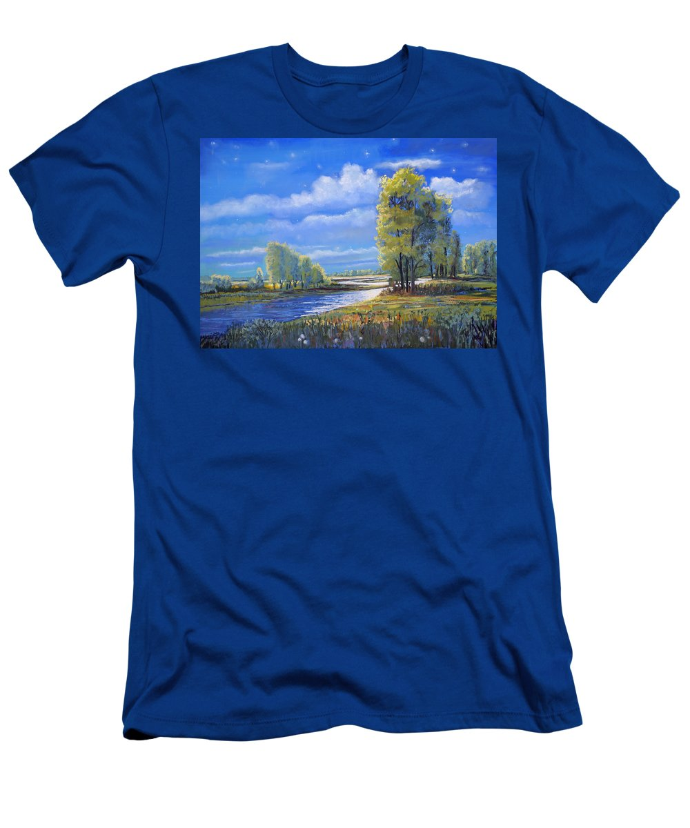 Moonlight Men's T-Shirt (Athletic Fit) featuring the painting Moonlight On Clear Creek by Heather Coen