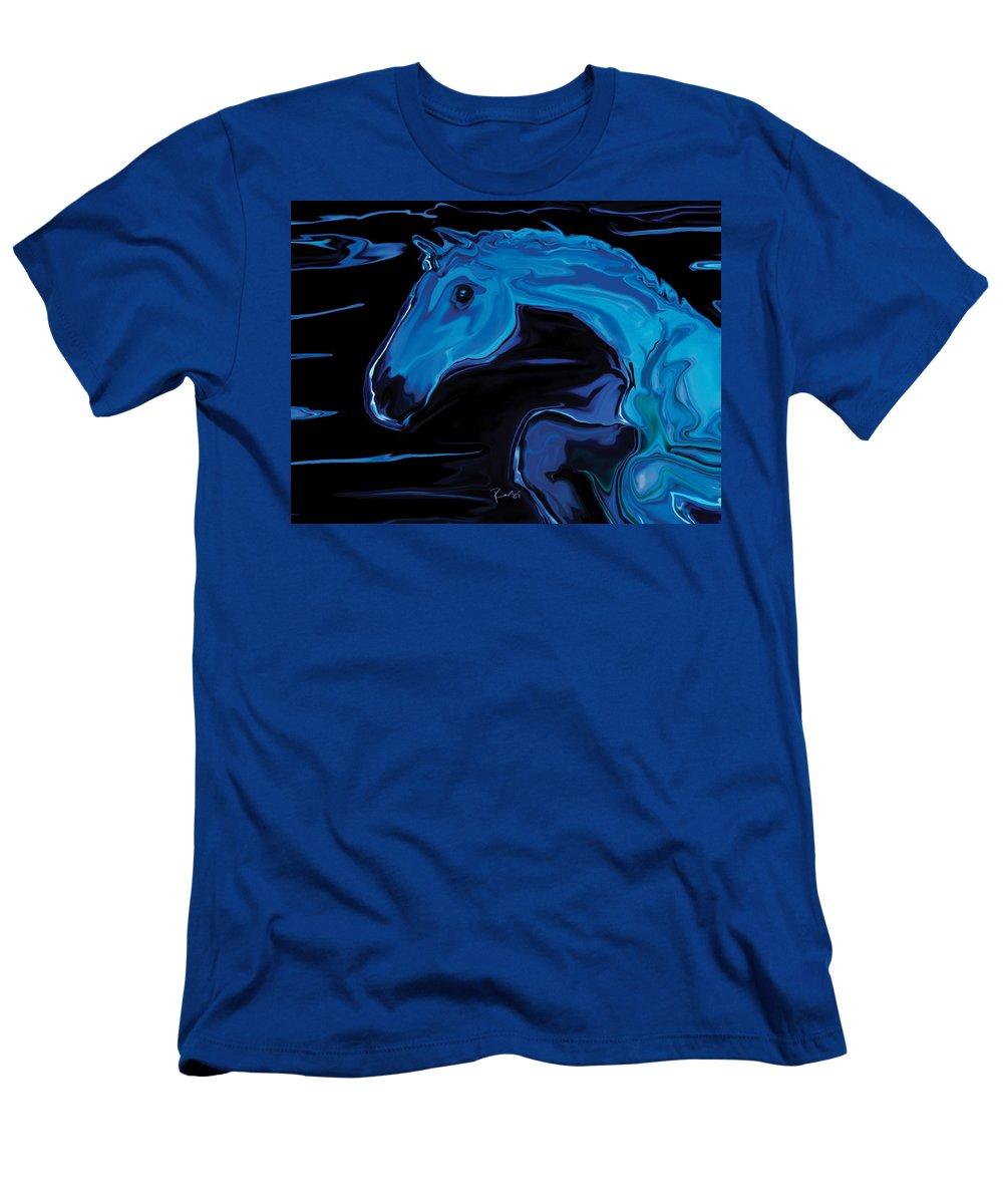 Animal Men's T-Shirt (Athletic Fit) featuring the digital art Moonlit Run by Rabi Khan