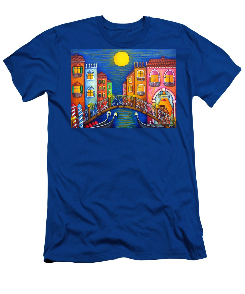 Venice T-Shirt featuring the painting Moonlit Venice by Lisa Lorenz
