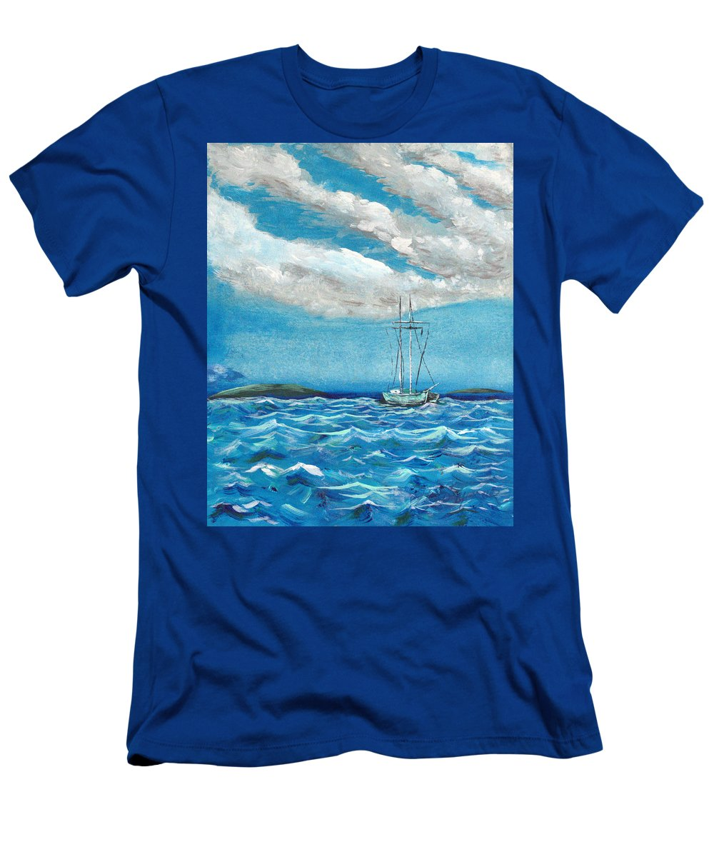 Impressionism Men's T-Shirt (Athletic Fit) featuring the painting Moored In The Bay by J R Seymour