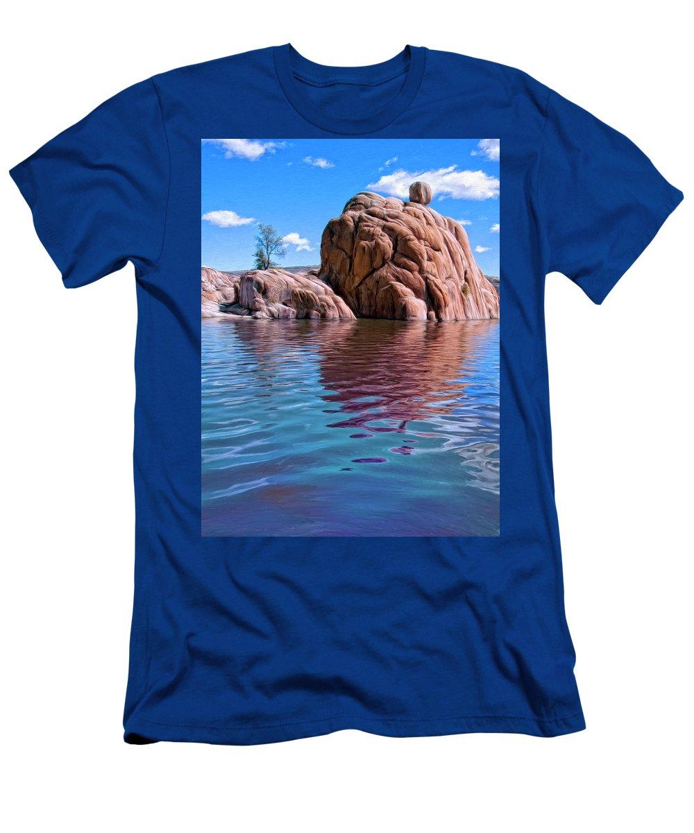 Morning At Watson Lake Men's T-Shirt (Athletic Fit) featuring the painting Morning At Watson Lake by Dominic Piperata