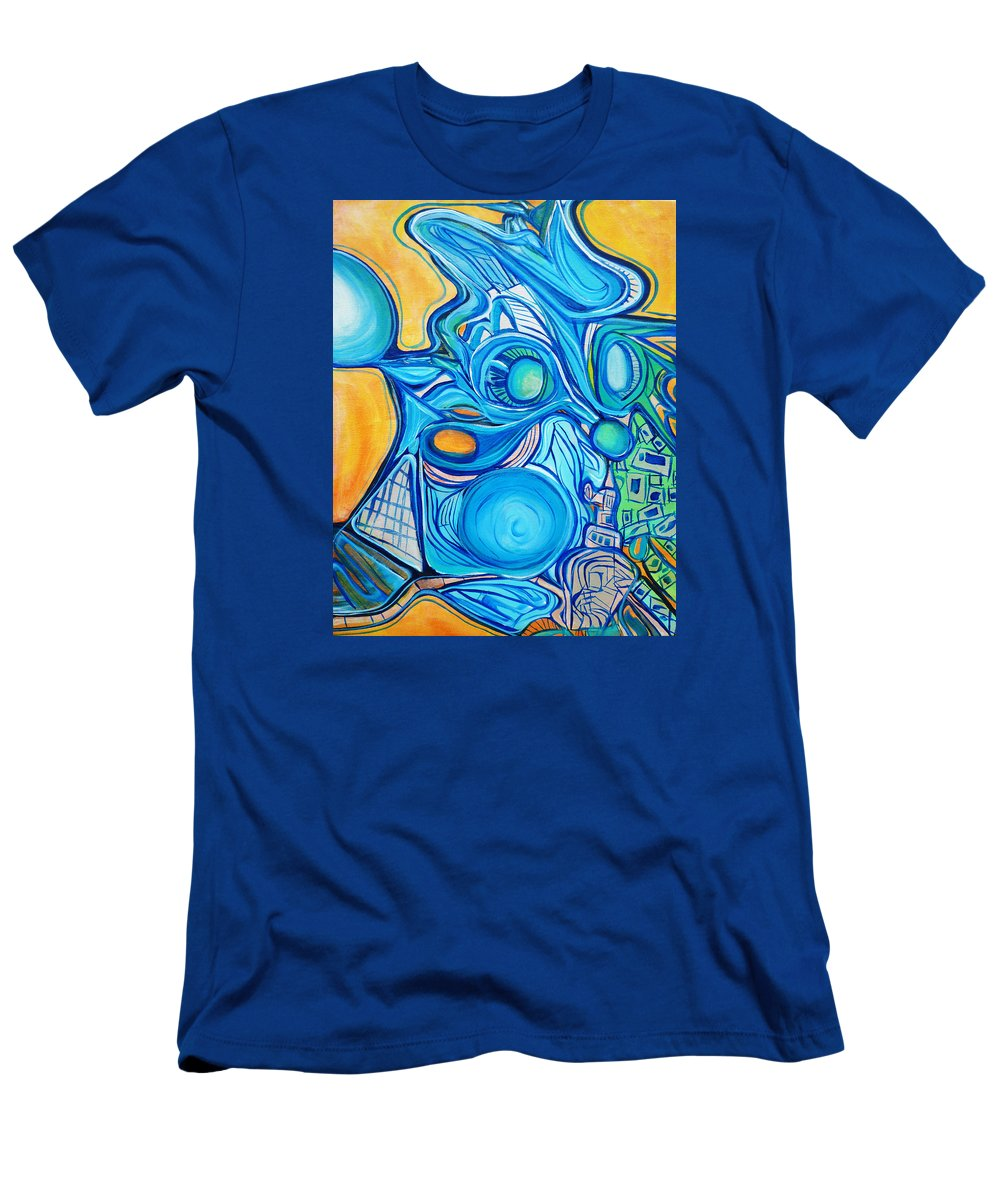 Blue Men's T-Shirt (Athletic Fit) featuring the painting Morphism And Energy by Larry Calabrese