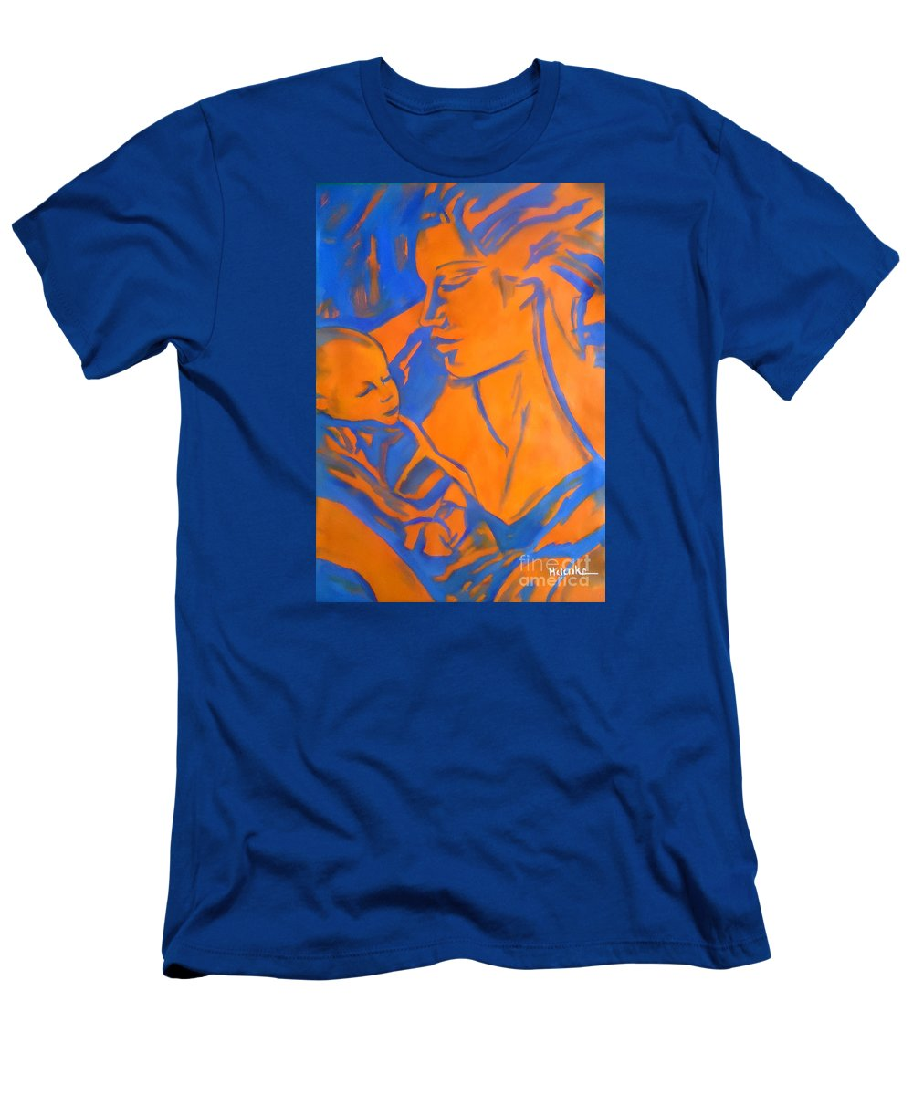 Art Men's T-Shirt (Athletic Fit) featuring the painting Motherhood II by Helena Wierzbicki