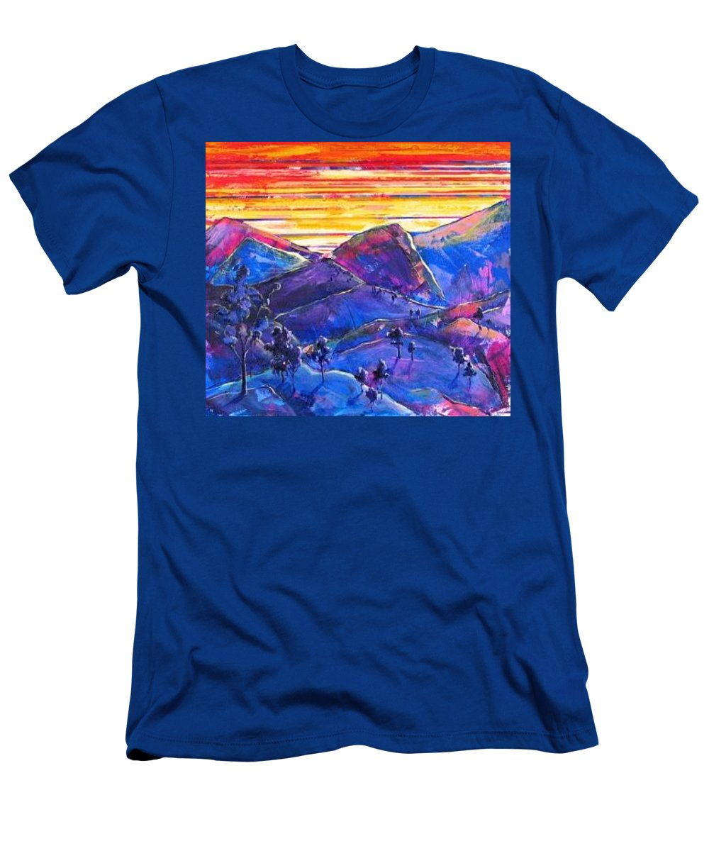 Mountains T-Shirt featuring the painting Mountainscape Blue by Rollin Kocsis