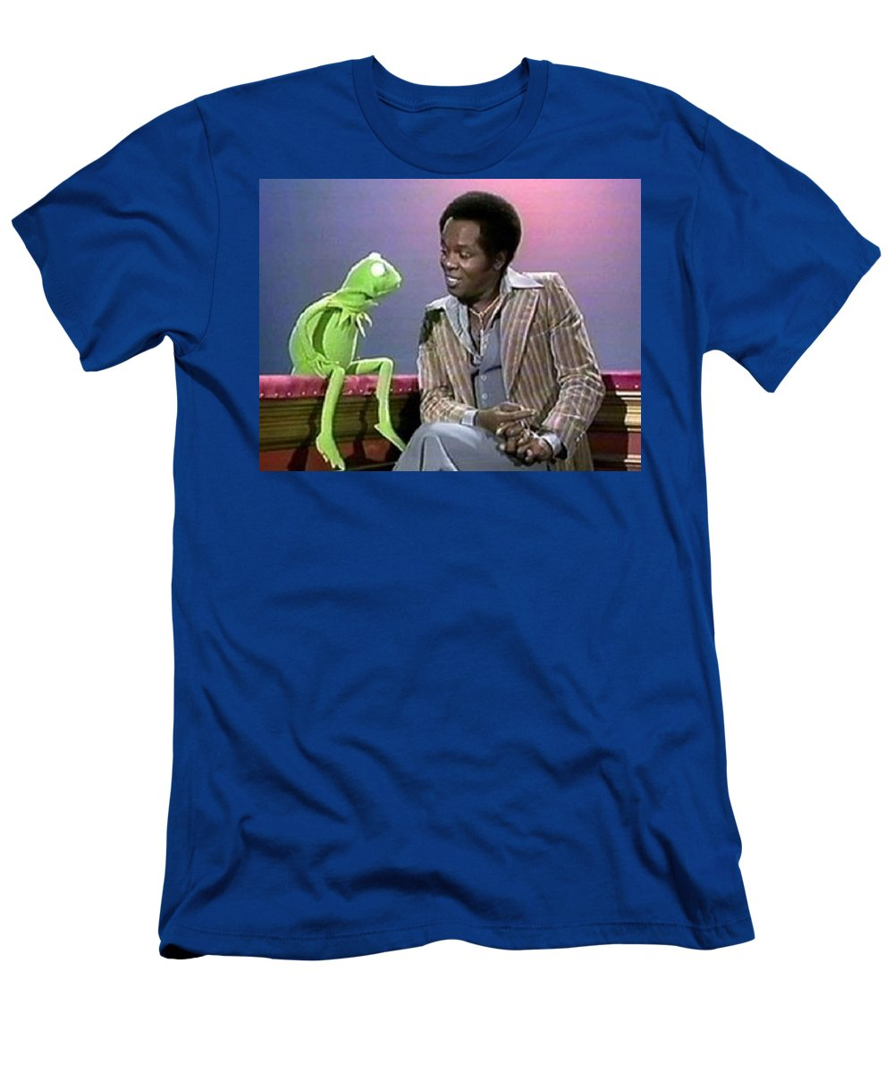 Muppet Land Men's T-Shirt (Athletic Fit) featuring the photograph Mr Lou Rawls - Kermit The Frog by Brian Jerry