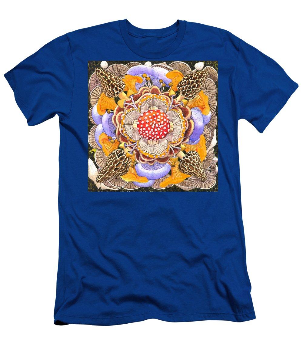 Mushrooms T-Shirt featuring the painting Mushroom Mandala by Catherine G McElroy