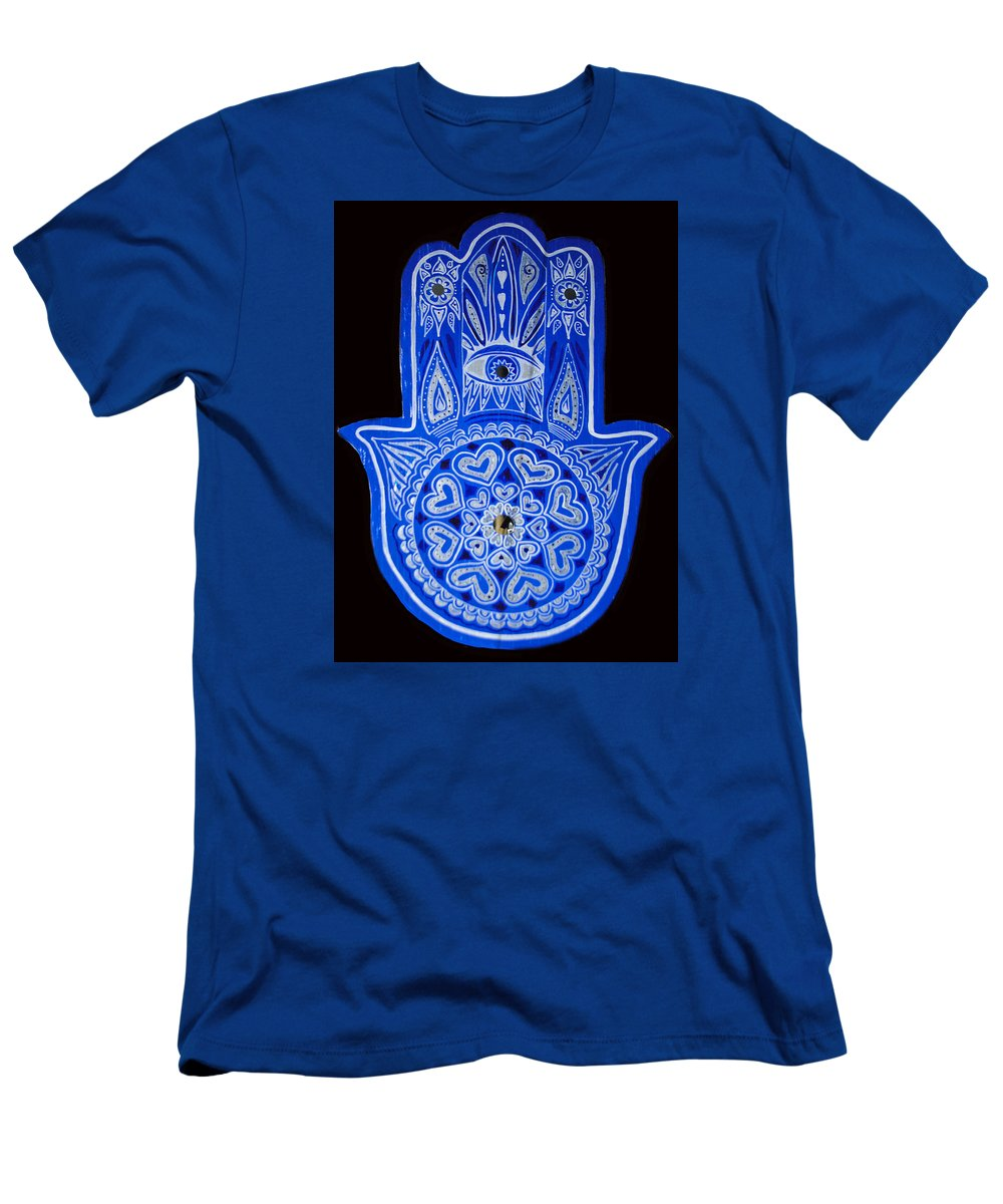 Blue Hamsa Men's T-Shirt (Athletic Fit) featuring the painting My Blue Hamsa by Patricia Arroyo