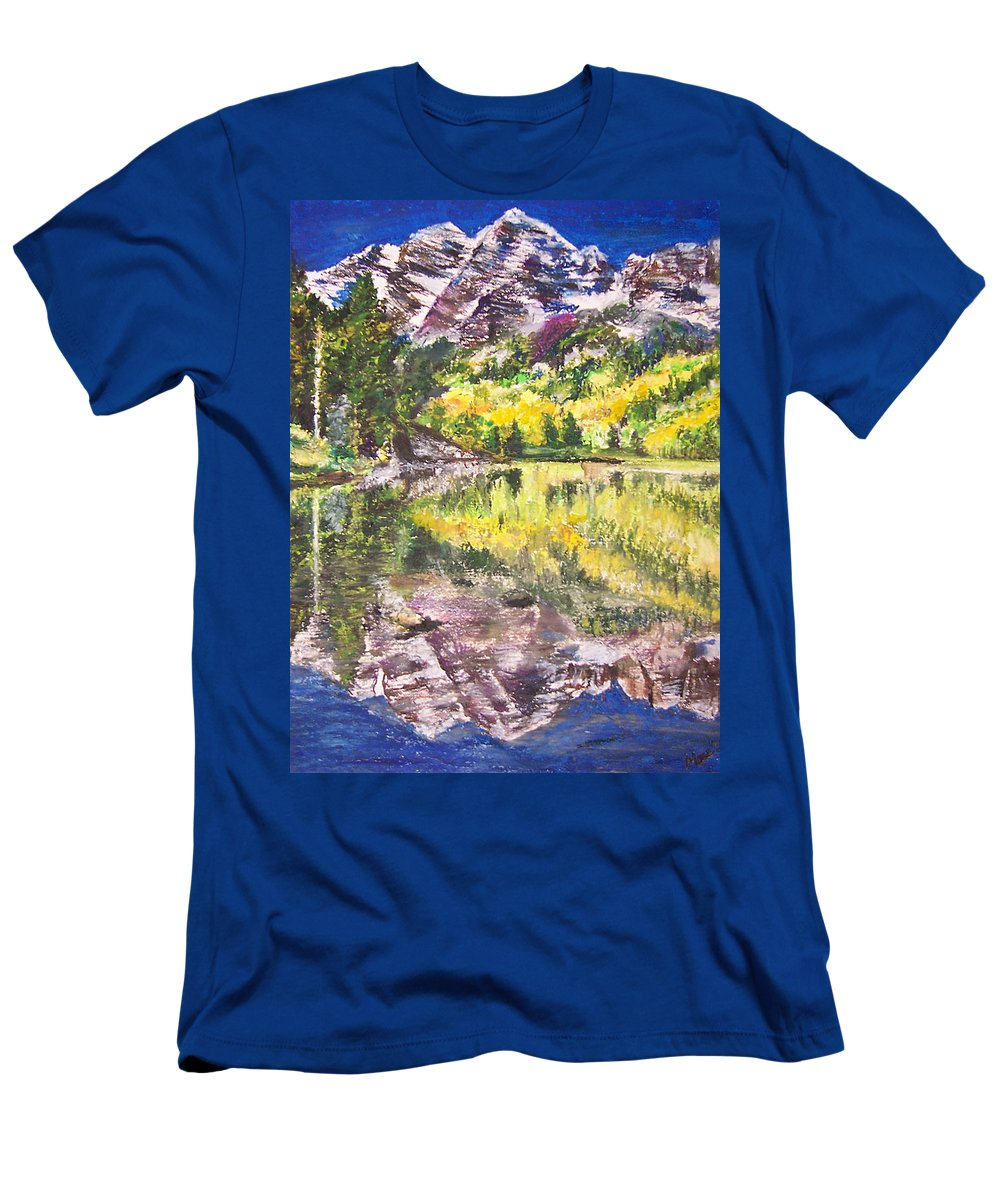 Co Men's T-Shirt (Athletic Fit) featuring the pastel My Maroon Bells by Mary Anne Hjelmfelt