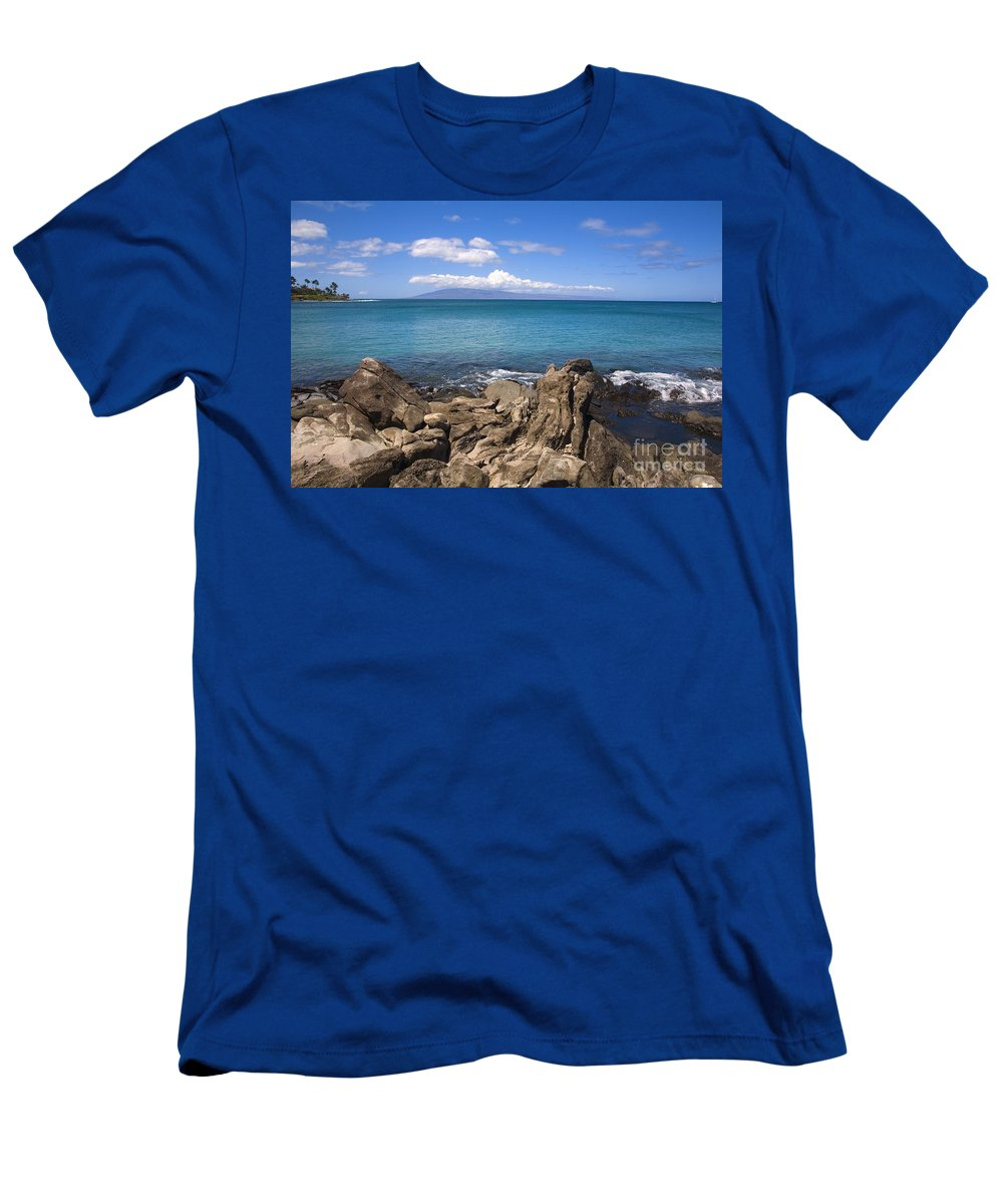 Bay Men's T-Shirt (Athletic Fit) featuring the photograph Napili Bay With Lanai by Ron Dahlquist - Printscapes