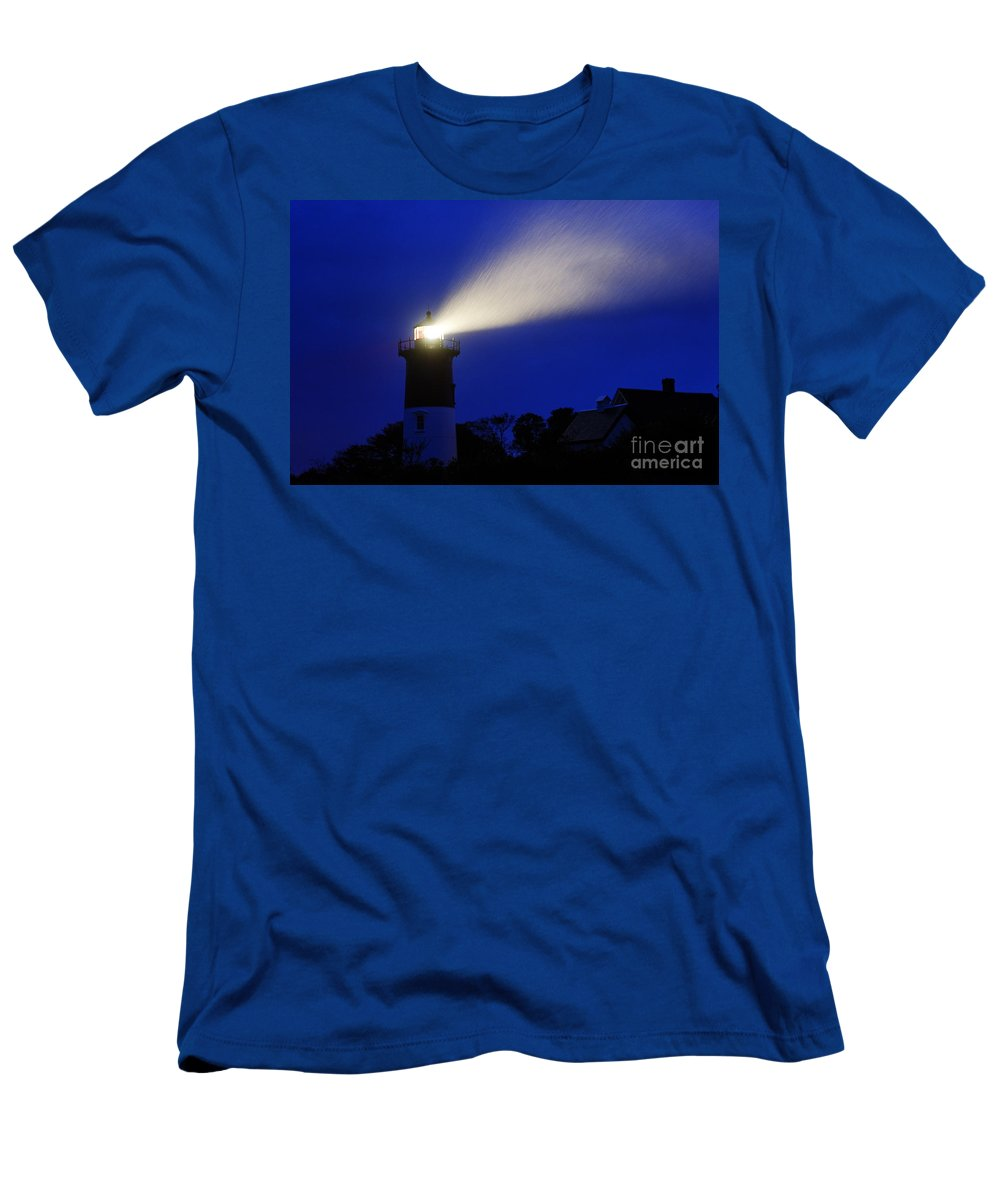 Cape Cod Men's T-Shirt (Athletic Fit) featuring the photograph Nauset Light Storm by John Greim