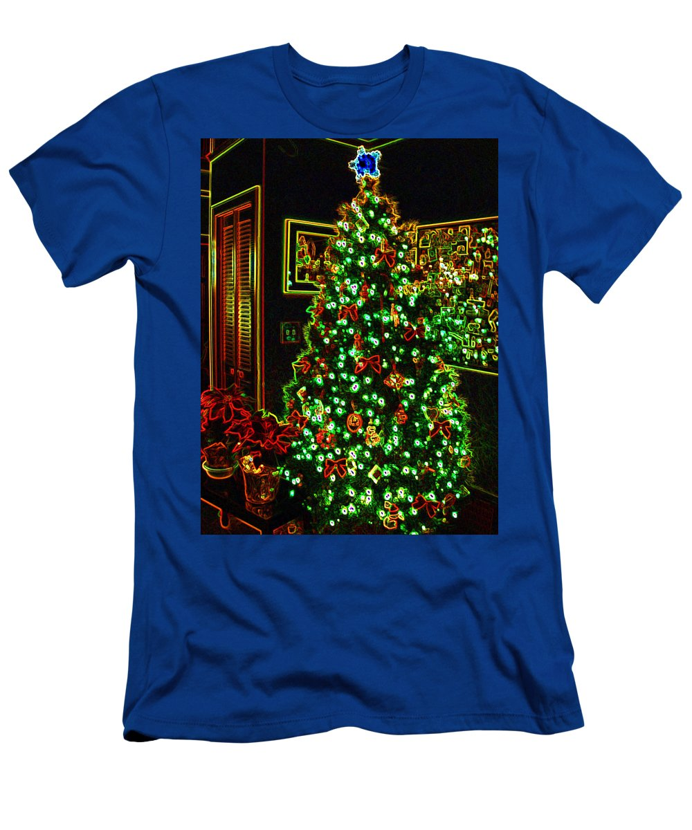 Christmas Men's T-Shirt (Athletic Fit) featuring the photograph Neon Christmas Tree by Nancy Mueller