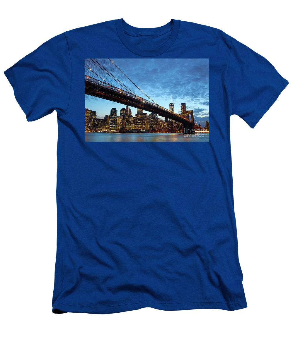 New Men's T-Shirt (Athletic Fit) featuring the photograph New York City Skyline By Night by Antonio Gravante