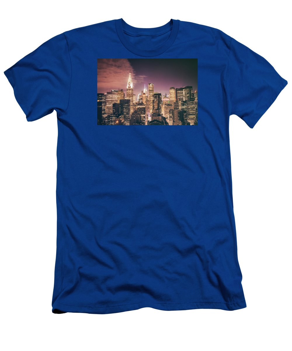 Chrysler Building T-Shirt featuring the photograph New York City Skyline - Night by Vivienne Gucwa