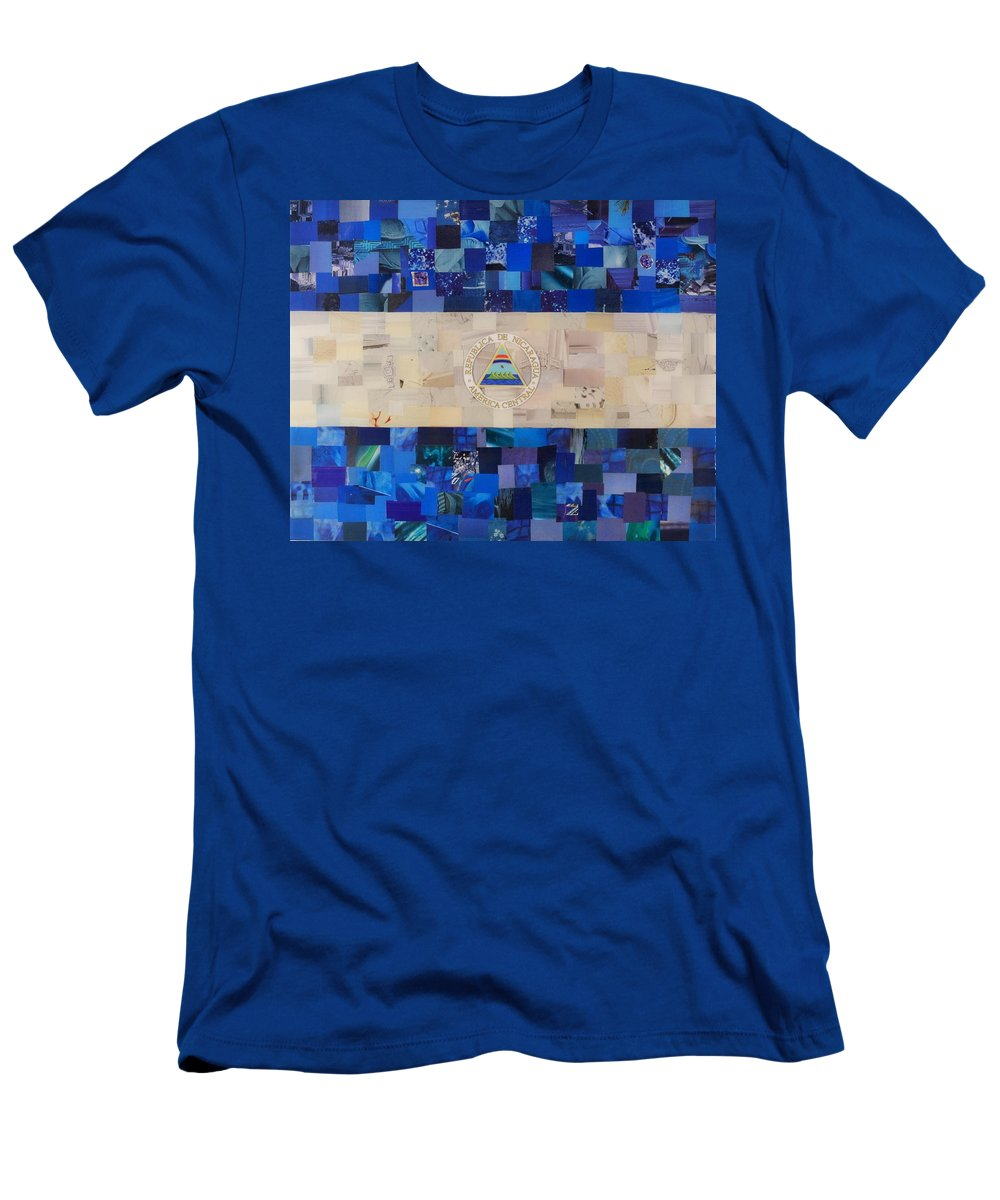 Nicaragua Flag Men's T-Shirt (Athletic Fit) featuring the mixed media Nicaragua Flag by Claudia Di Paolo