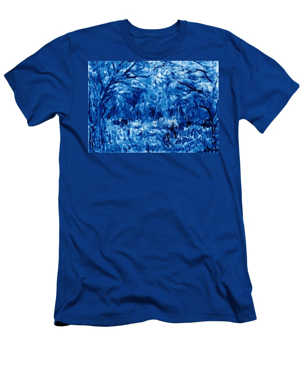 Landscape Men's T-Shirt (Athletic Fit) featuring the painting Night In The Woods by Natalie Holland