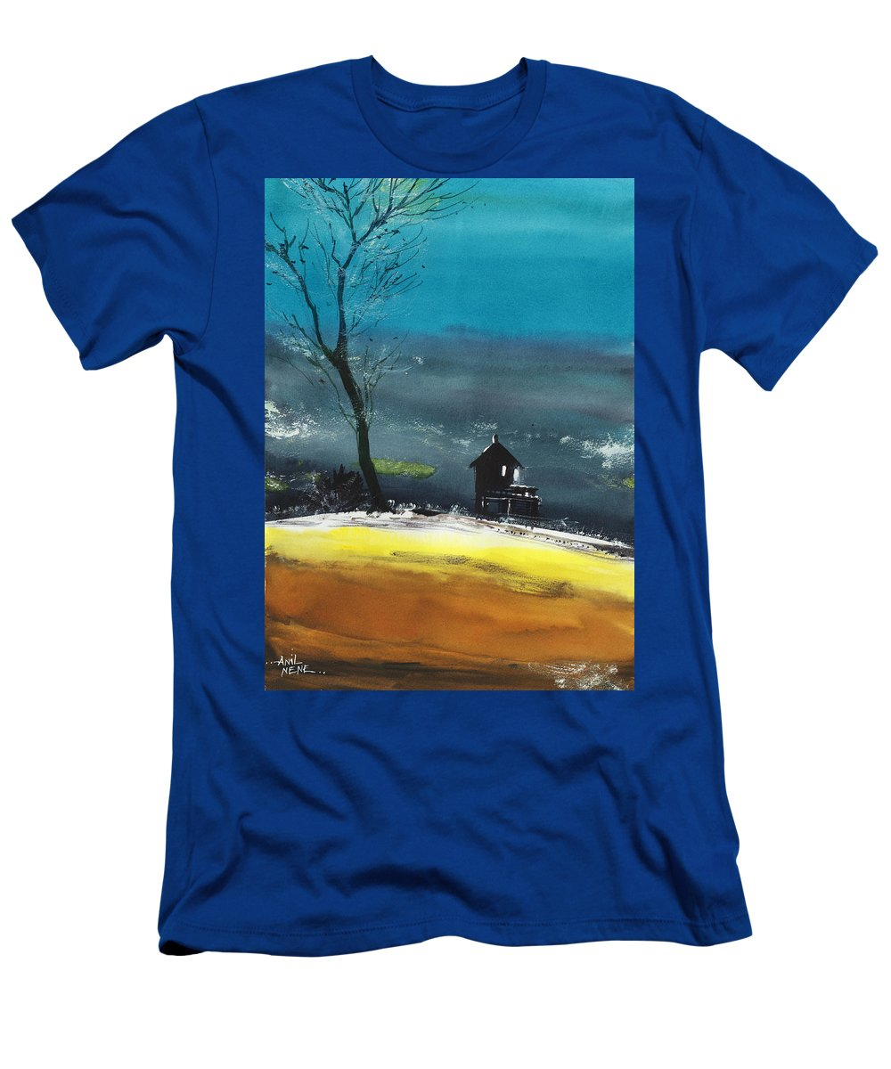 Spiritual T-Shirt featuring the painting Night Lamp by Anil Nene