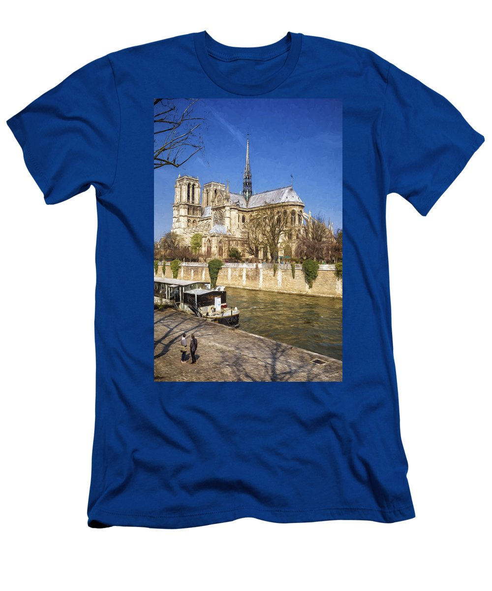 Joan Carroll Men's T-Shirt (Athletic Fit) featuring the photograph Notre Dame And The Seine Painterly by Joan Carroll