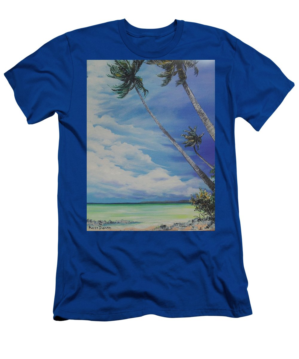 Trinidad And Tobago Seascape Men's T-Shirt (Athletic Fit) featuring the painting Nylon Pool Tobago. by Karin Dawn Kelshall- Best