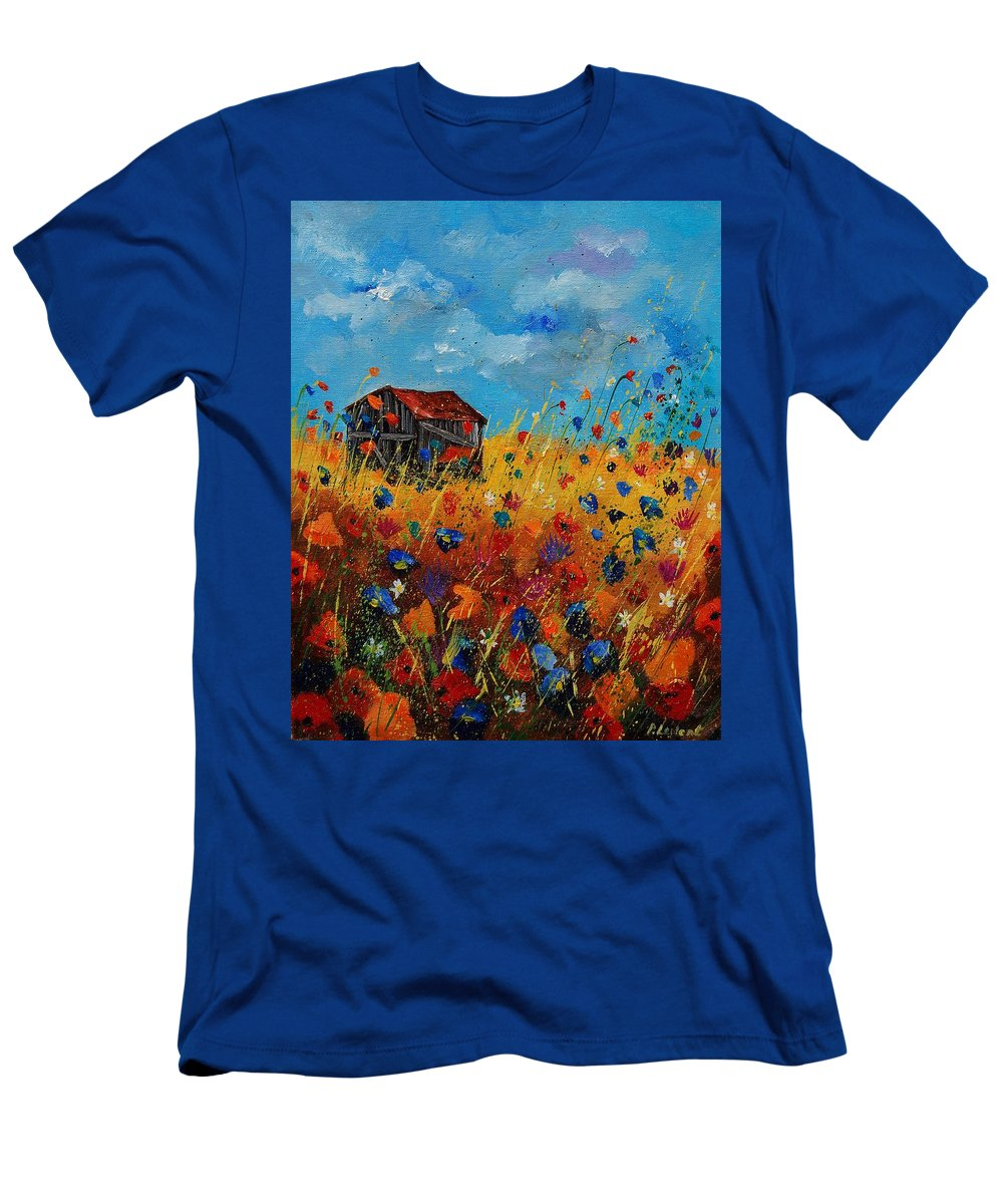 Flowers Men's T-Shirt (Athletic Fit) featuring the painting Old Barn And Wild Flowers by Pol Ledent