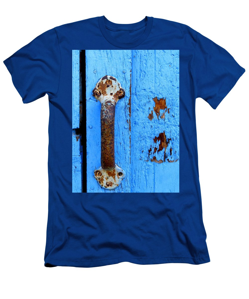 Rust Men's T-Shirt (Athletic Fit) featuring the photograph Old Door Photograph by Kimberly Walker