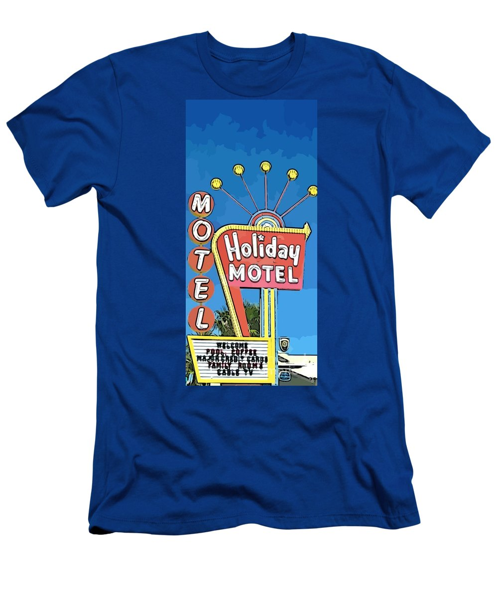 Old Fifties Vegas Hotel Sign Painting Men's T-Shirt (Athletic Fit) featuring the painting Old Fifties Vegas Hotel Sign Painting by John Malone