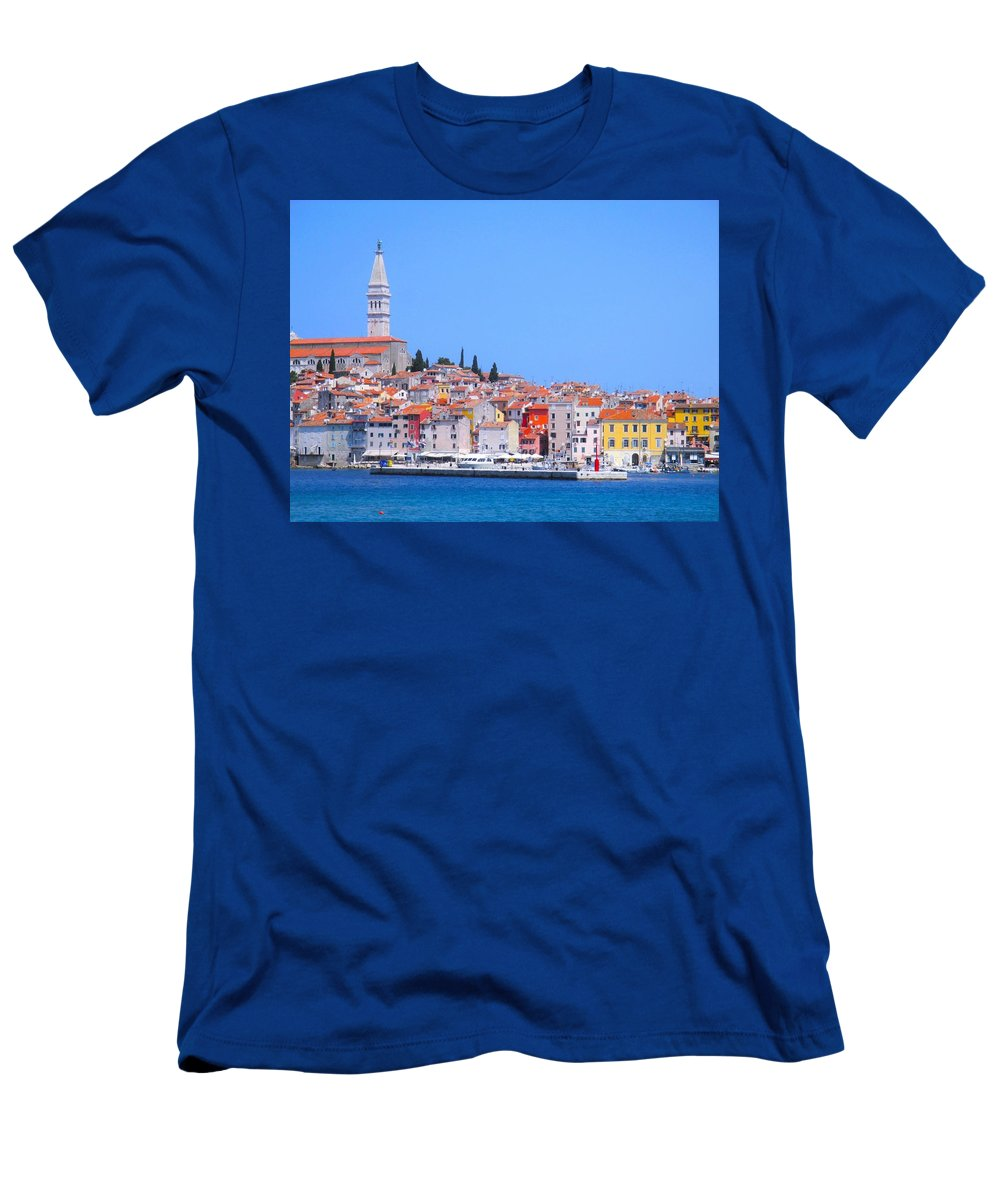 Landscape Men's T-Shirt (Athletic Fit) featuring the photograph Old Town Rovinj by Karla Fritz