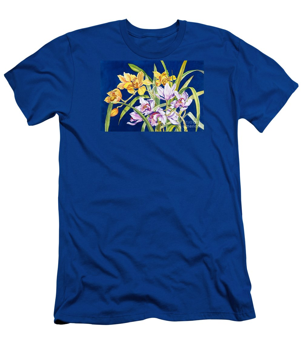 Orchids Men's T-Shirt (Slim Fit) featuring the painting Orchids In Blue by Lucy Arnold