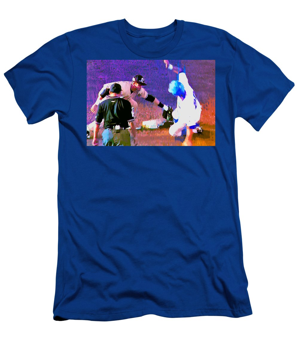 Baseball Men's T-Shirt (Athletic Fit) featuring the painting Outta There by Stephen Anderson