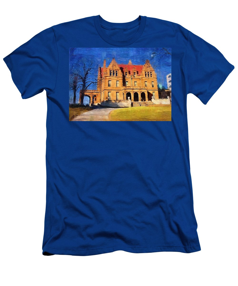 Architecture Men's T-Shirt (Athletic Fit) featuring the digital art Pabst Mansion by Anita Burgermeister