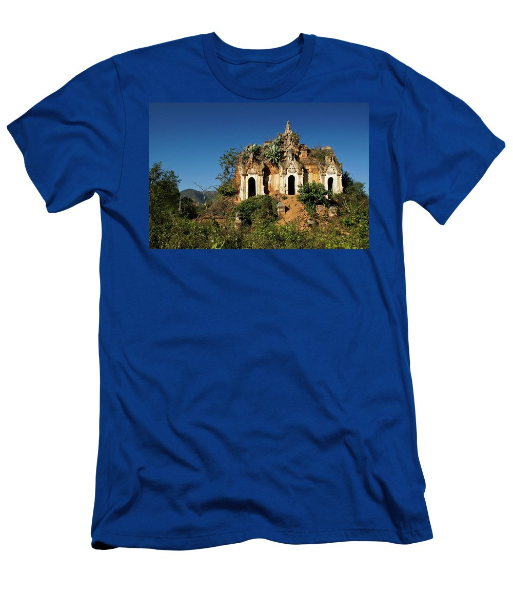 Asia Men's T-Shirt (Athletic Fit) featuring the photograph Pagoda In Ruins by Michele Burgess