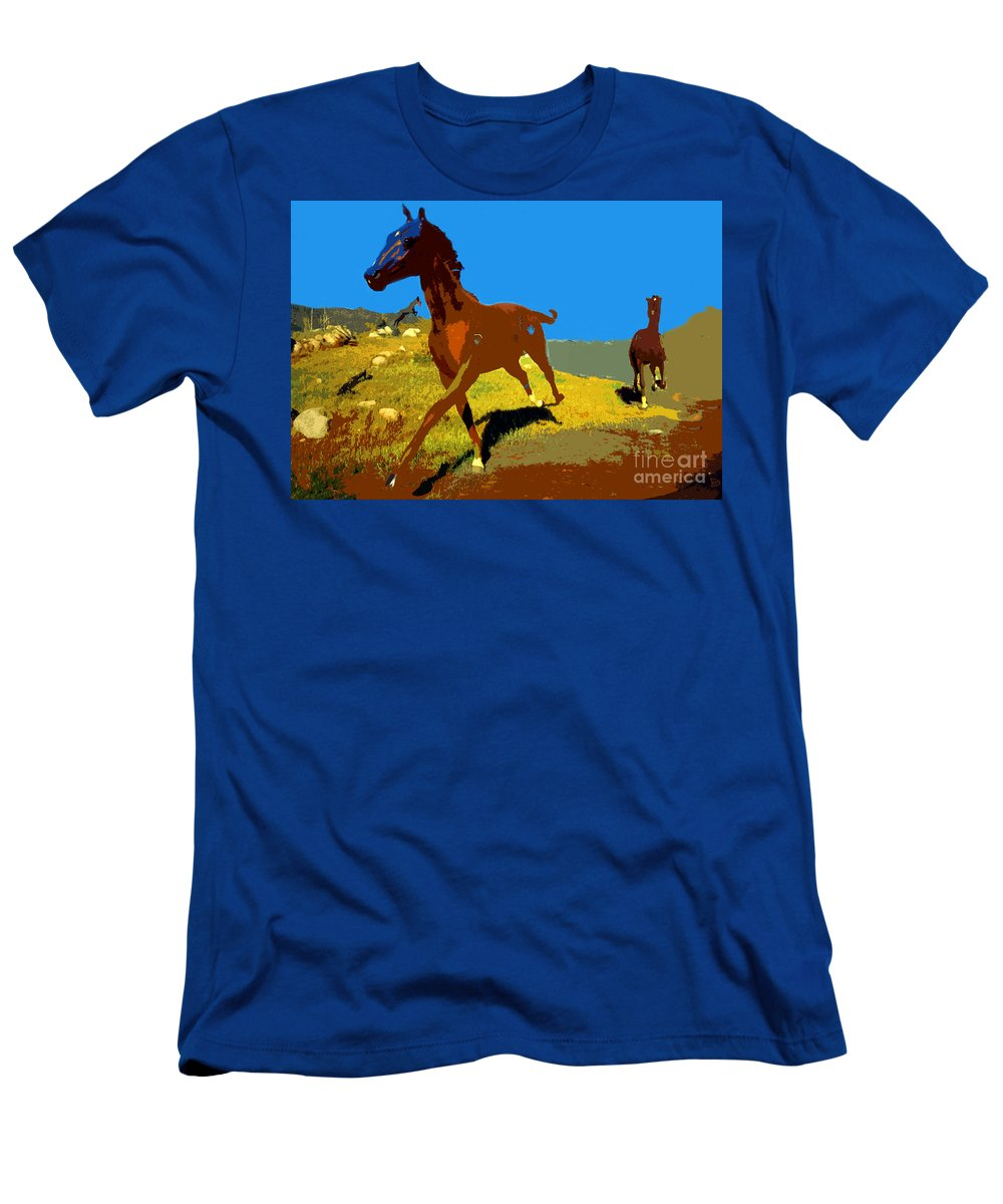 Horses Men's T-Shirt (Athletic Fit) featuring the painting Painted War Horses by David Lee Thompson
