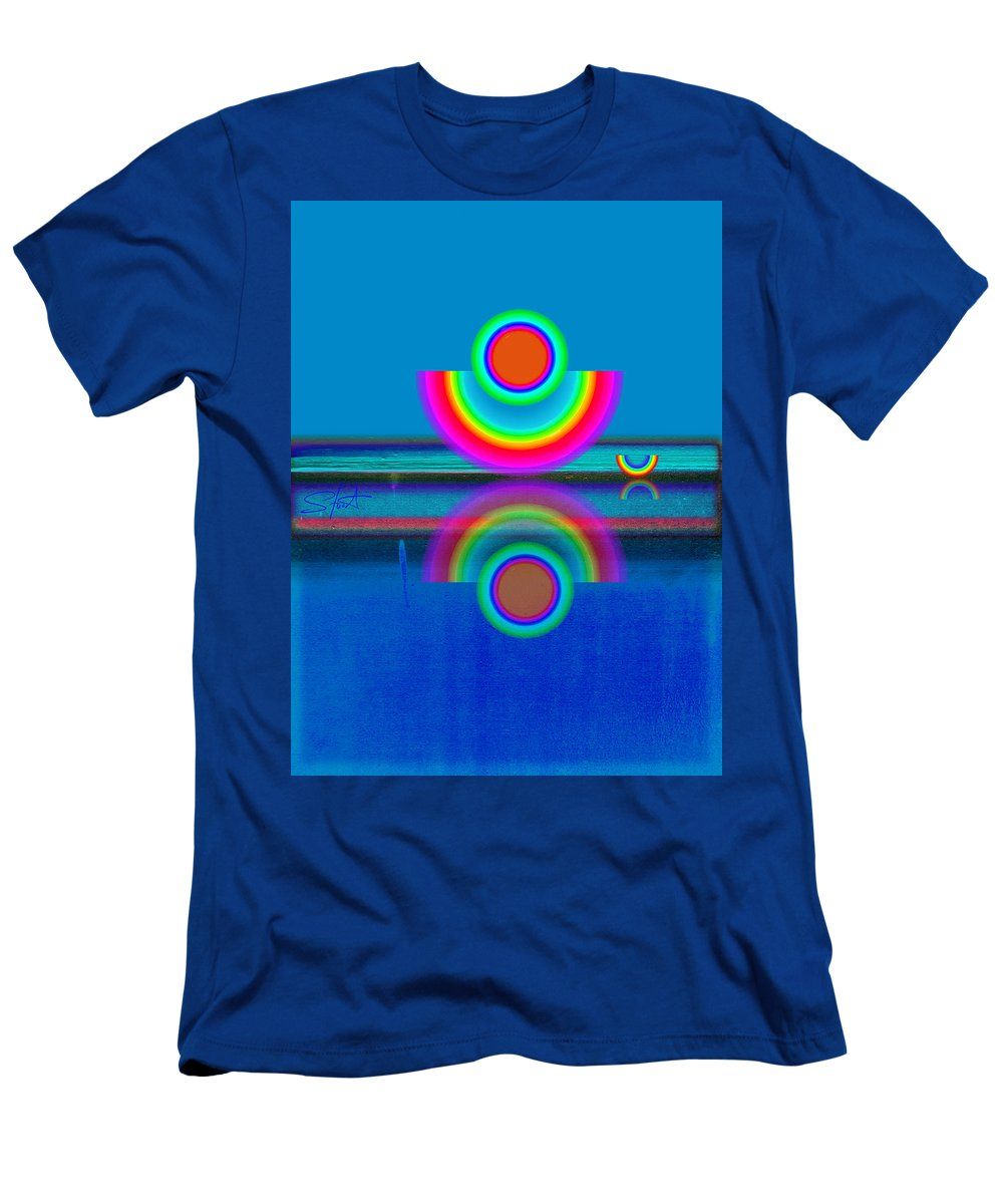 Reflections Men's T-Shirt (Athletic Fit) featuring the painting Pale Blue Reflections by Charles Stuart