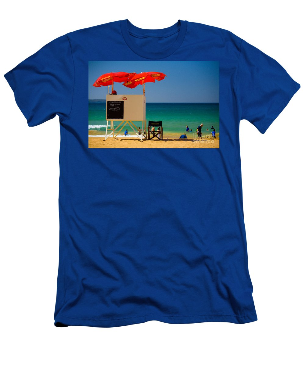 Palm Beach Sun Sea Sky Beach Umbrellas Men's T-Shirt (Athletic Fit) featuring the photograph Palm Beach Dreaming by Sheila Smart Fine Art Photography