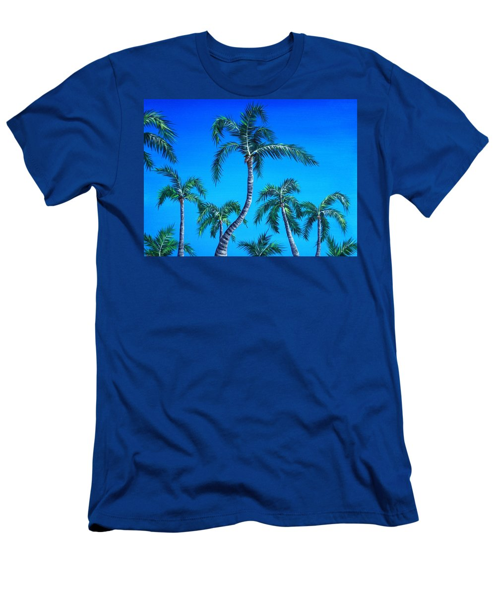 Palm Men's T-Shirt (Athletic Fit) featuring the painting Palm Tops by Anastasiya Malakhova