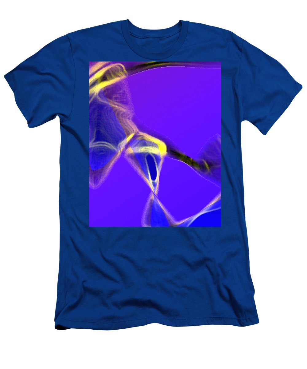 Abstract Men's T-Shirt (Athletic Fit) featuring the digital art panel two from Movement in Blue by Steve Karol