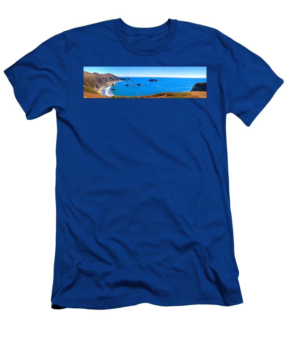 Beach Men's T-Shirt (Athletic Fit) featuring the photograph Panoramic California Coast by James O Thompson