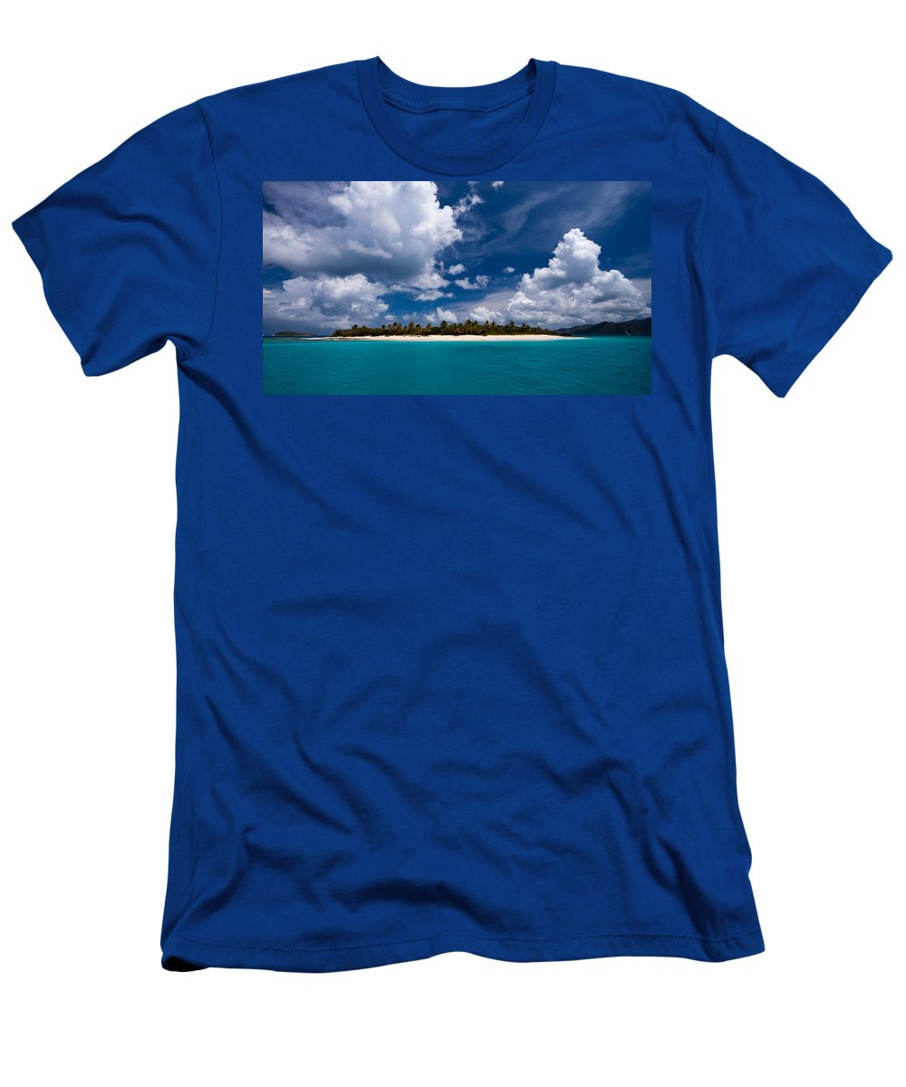 3scape Men's T-Shirt (Athletic Fit) featuring the photograph Paradise Is Sandy Cay by Adam Romanowicz