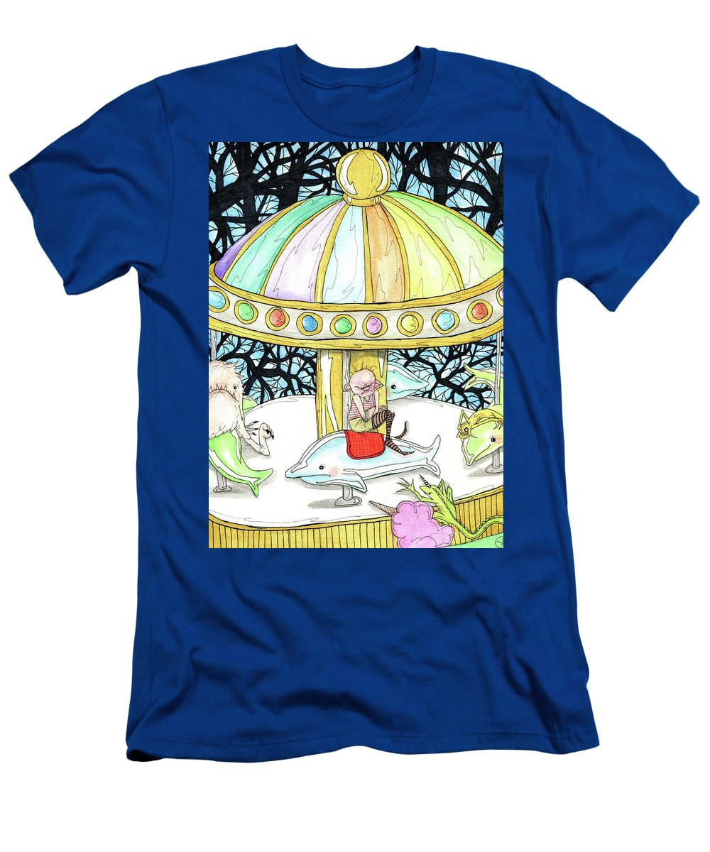 Amusement Park Men's T-Shirt (Athletic Fit) featuring the painting Parallel Carousel by Julie McDoniel