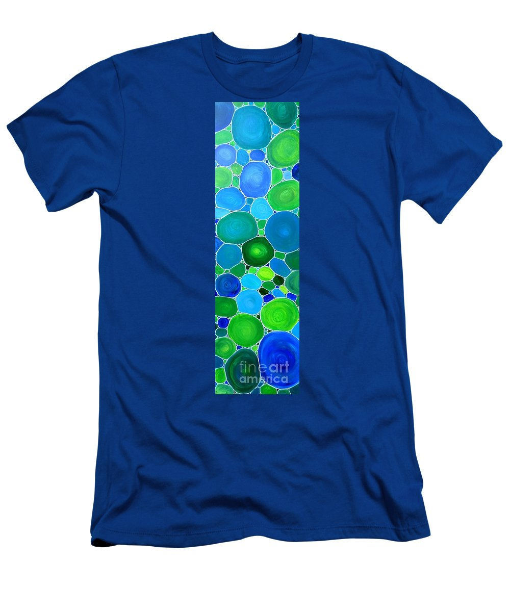 Peacock Men's T-Shirt (Athletic Fit) featuring the painting Peacock Pebbles by Karen Jane Jones