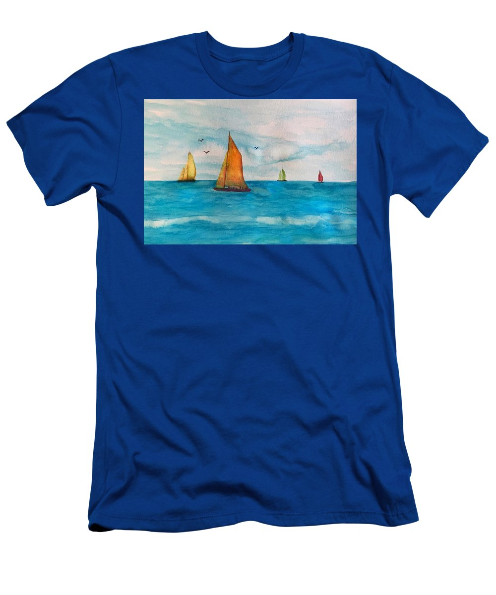 Sailboat Men's T-Shirt (Athletic Fit) featuring the painting Perfect Sailing Day by Anne Sands