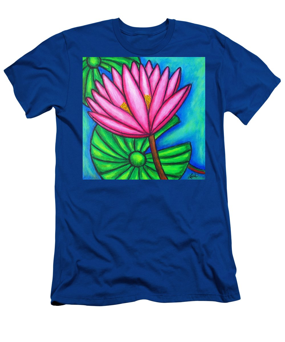 Water Lilies T-Shirt featuring the painting Pink Gem 1 by Lisa Lorenz